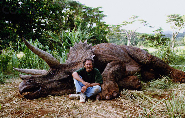 01 Jan 1992 --- Director Steven Spielberg with Triceratops --- Image by © Murray Close/Sygma/Corbis