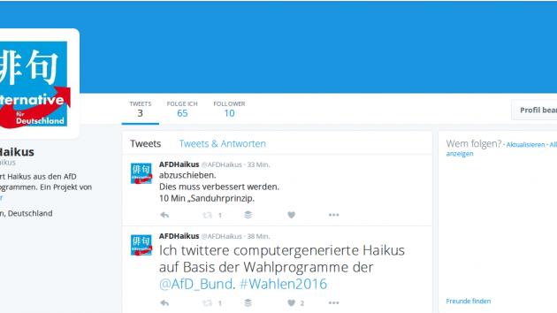 AFDHaikus macht Haikus aus AFD-Wahlprogrammen