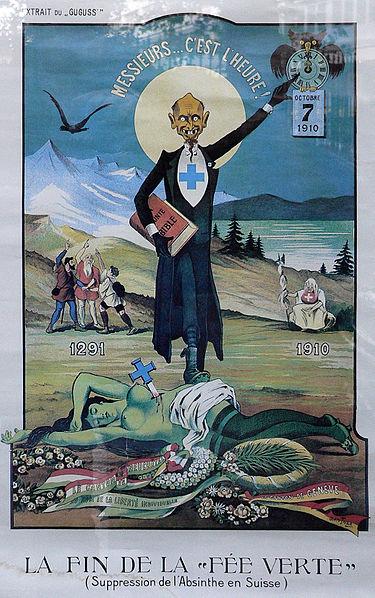zu 7 - Plakat von Albert Gantner zum Absinth-Verbot in der Schweiz 1910 - public domain