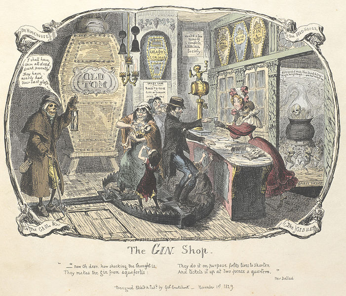 zu 9 - Gin-Krise London - The Gin Shop - aus Cruikshank - Scraps and sketches (1829) - British Library - Creative Commons Lizenz