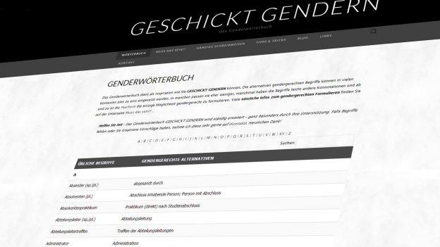 Die Seite geschicktgendern.de – ein Wörterbuch für das Gendern von Worten