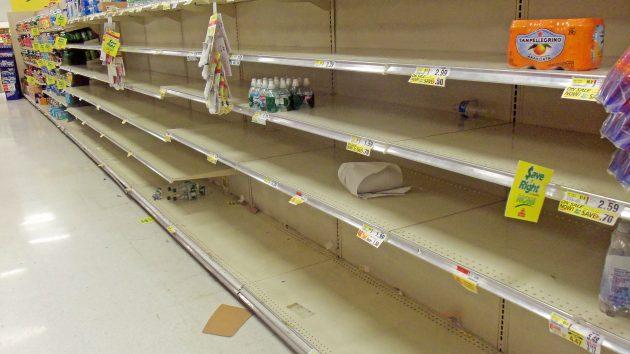Ein ausgeräumter Supermarkt